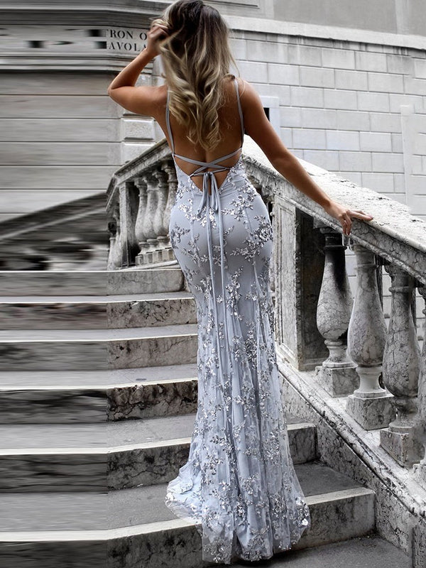 Floor-Length Trumpet/Mermaid Spaghetti Straps Sequins Prom/Evening Dress