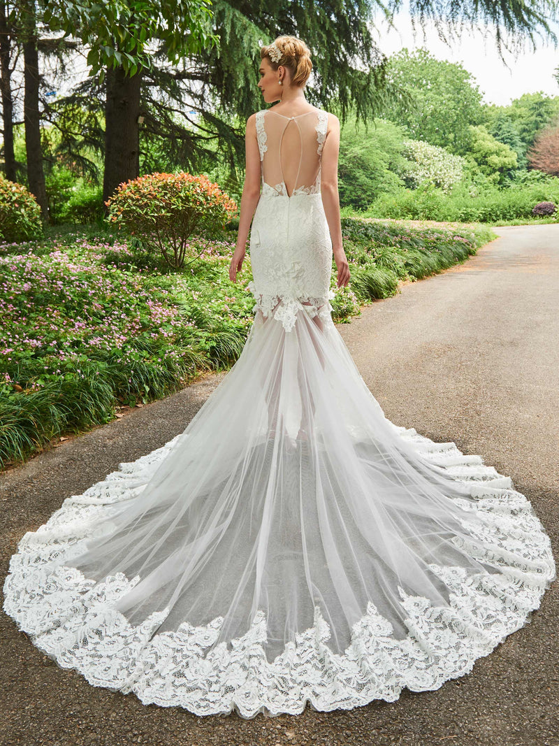 Trumpet/Mermaid Scoop Sleeveless Floor-Length Church Wedding Dress