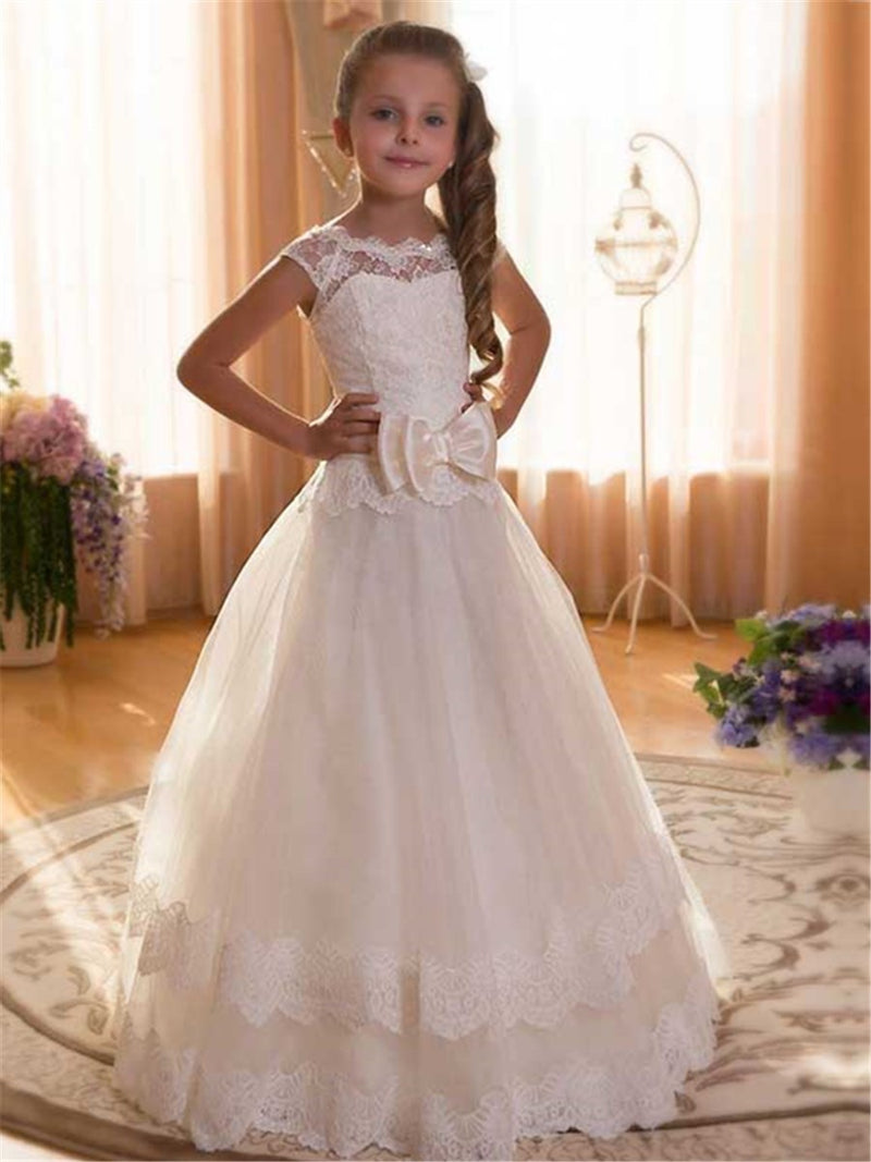 Floor-Length Ball Gown Summer Appliques Flower Girl Dress