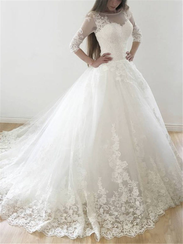 Half Sleeves Bateau Ball Gown Floor-Length Church Wedding Dress