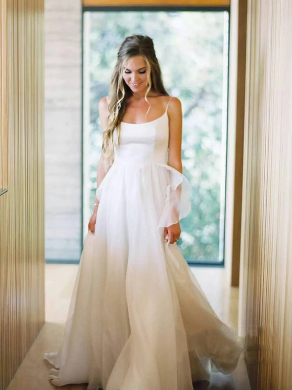 Spaghetti Straps Court Sleeveless A-Line Church Wedding Dress