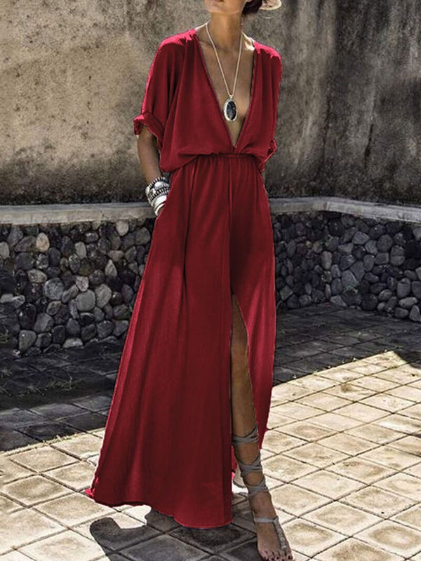 V-Neck Split Ankle-Length High Waist Regular Dress