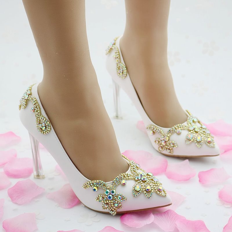 Rhinestone Slip-On Pointed Toe Stiletto Heel Plain 9cm Thin Shoes