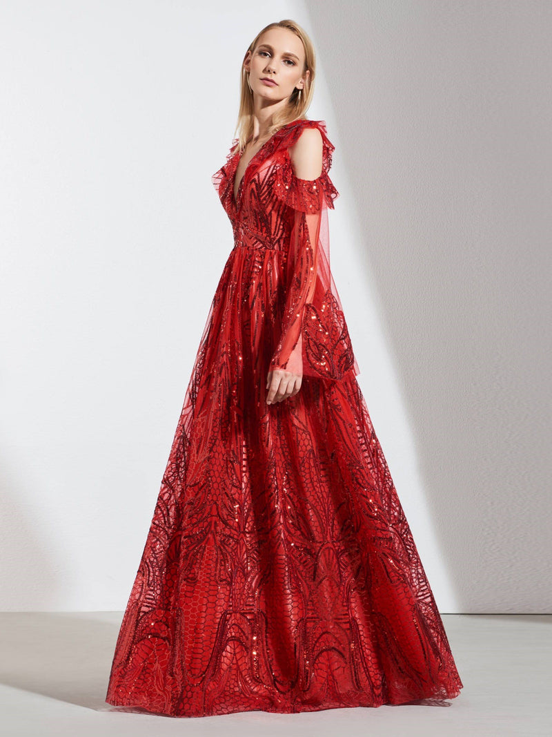 V-Neck Floor-Length Long Sleeves Lace Evening Dress
