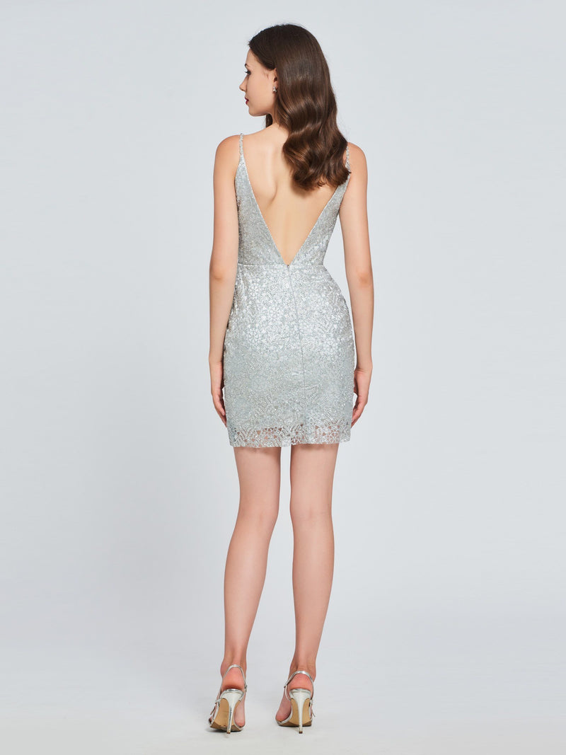 Sheath/Column Short/Mini Sequins Sleeveless Homecoming Dress