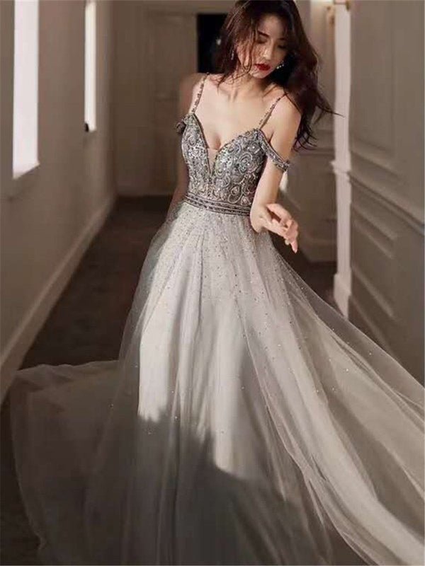 A-Line Floor-Length Straps Beading Formal Dress