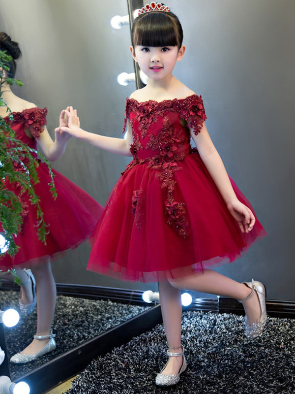 Appliques Off-The-Shoulder Short Sleeves Winter Flower Girl Dress