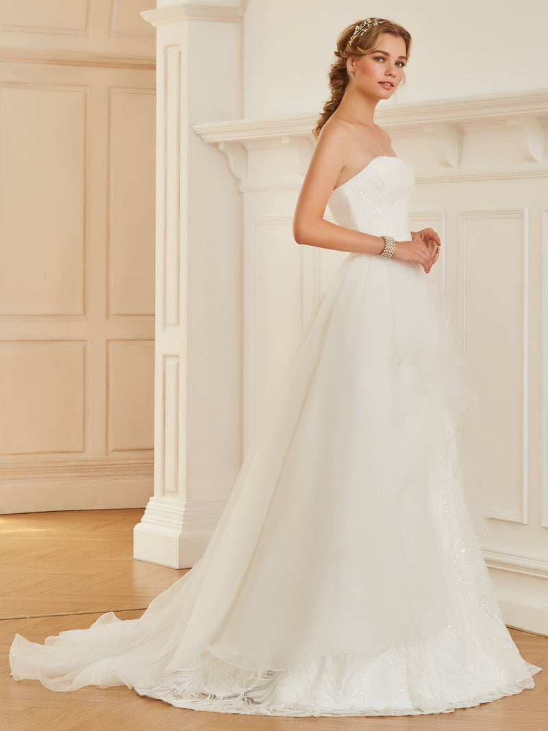 Sleeveless Floor-Length Ball Gown Ruffles Garden/Outdoor Wedding Dress