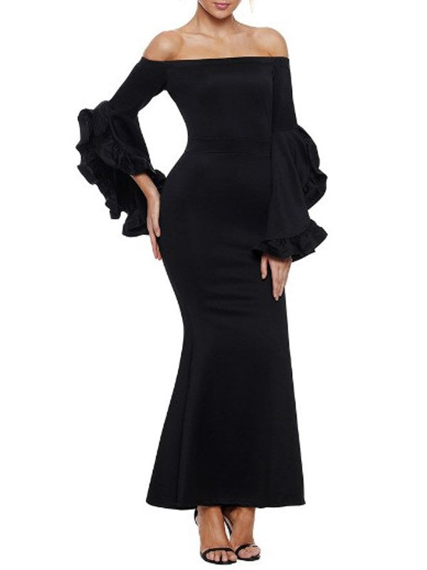 Long Sleeve Off Shoulder Patchwork Fashion High Waist Dress