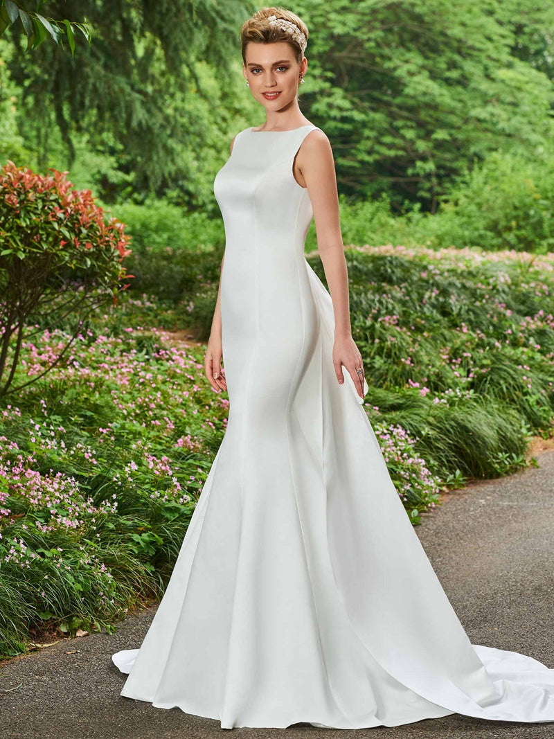 Sleeveless Bateau Watteau Trumpet/Mermaid Hall Wedding Dress