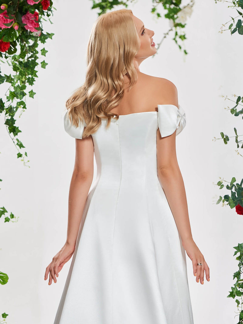 Short Sleeves Floor-Length Off-The-Shoulder Bowknot Hall Wedding Dress