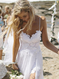 Spaghetti Straps Sweep/Brush Floor-Length A-Line Beach Wedding Dress