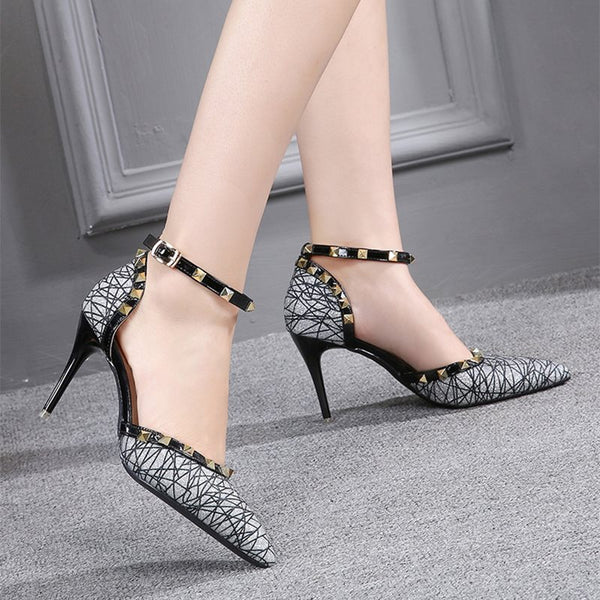 Buckle Stiletto Heel Thread Pointed Toe High Heel Patchwork Thin Shoes