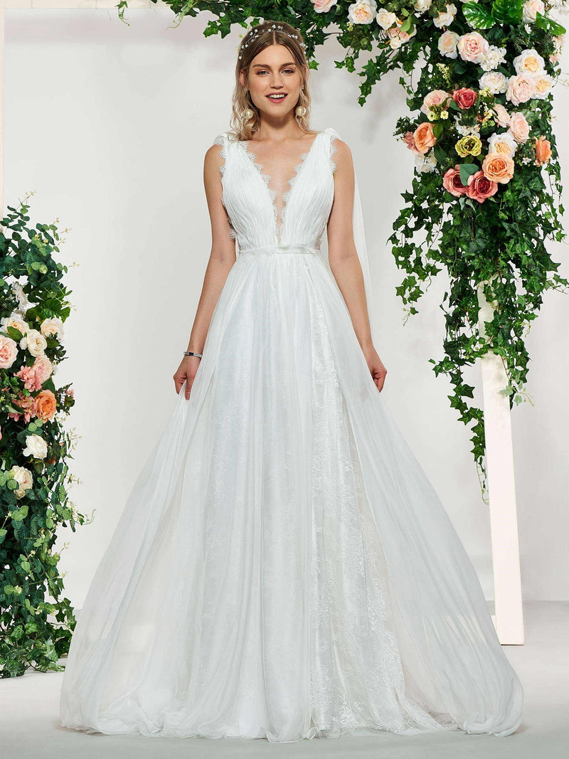 Floor-Length Sweep/Brush V-Neck A-Line Garden/Outdoor Wedding Dress