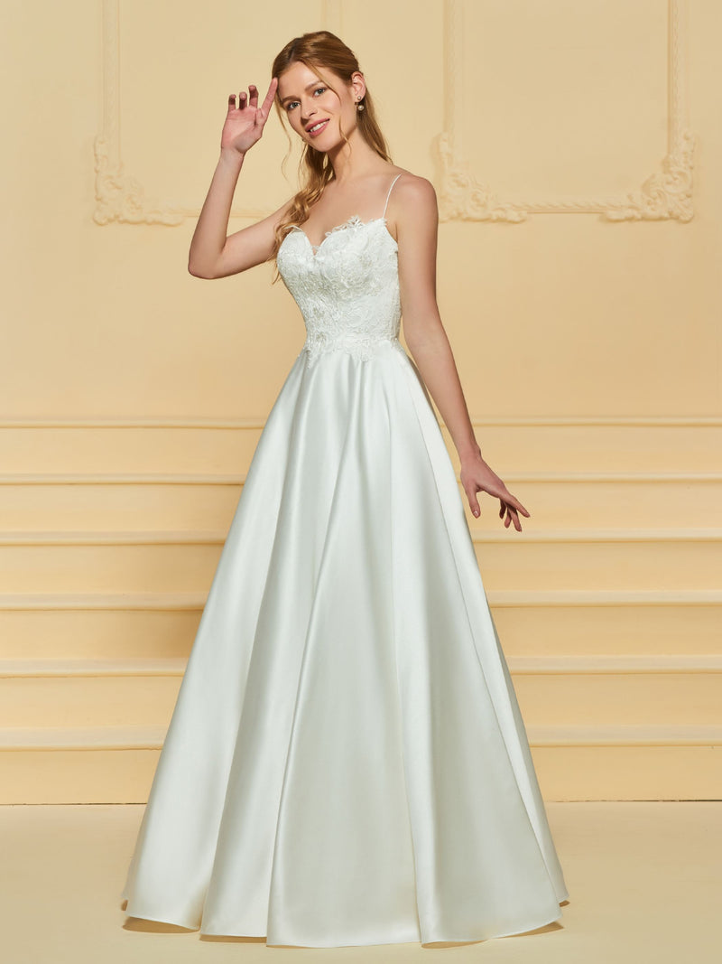 Spaghetti Straps Appliques A-Line Floor-Length Church Wedding Dress