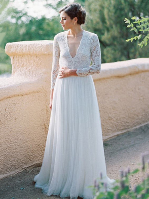 Long Sleeves A-Line Floor-Length Lace Beach Wedding Dress
