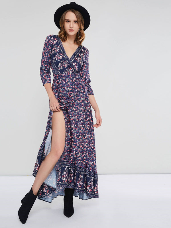 V-Neck Three-Quarter Sleeve Print Bohemian Expansion Dress