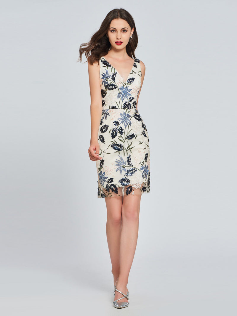 Sheath/Column V-Neck Lace Sleeveless Cocktail Dress