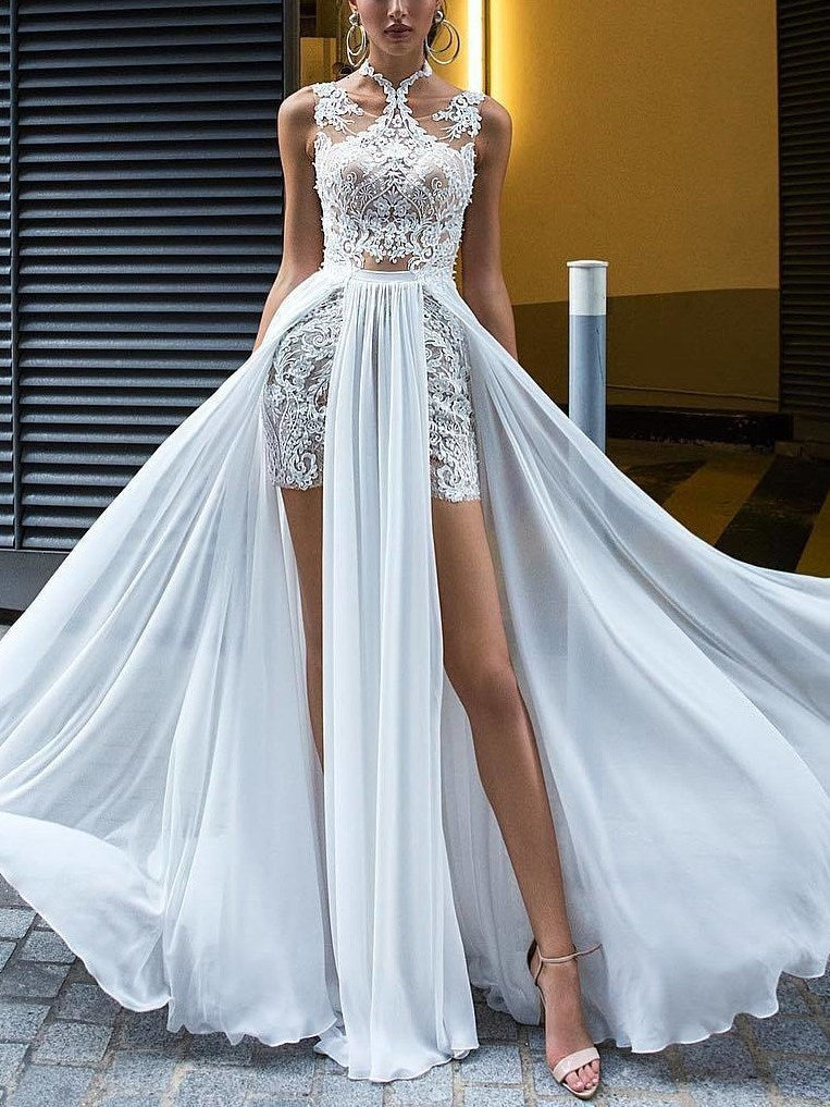 A-Line Lace Sleeveless Floor-Length Beach Wedding Dress