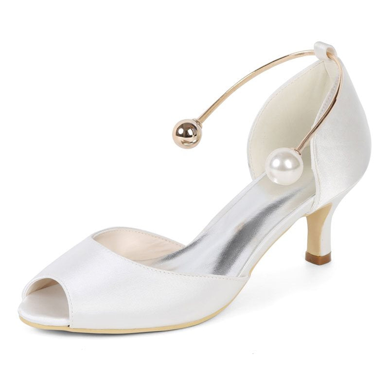 Peep Toe Slip-On Stiletto Heel Wedding Plain Thin Shoes