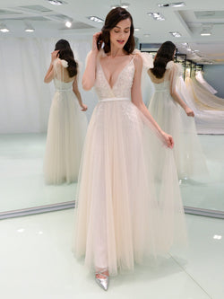 Bowknot Floor-Length A-Line V-Neck Beach Wedding Dress