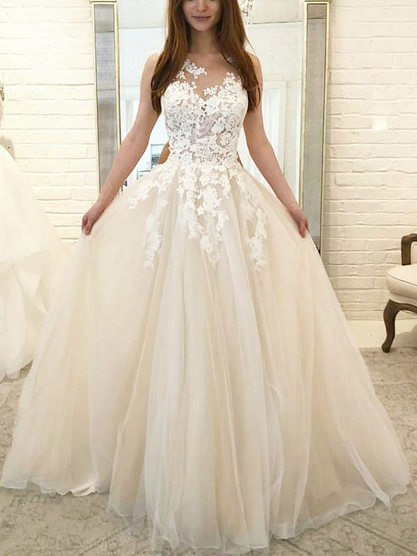 Floor-Length Scoop A-Line Sleeveless Garden/Outdoor Wedding Dress