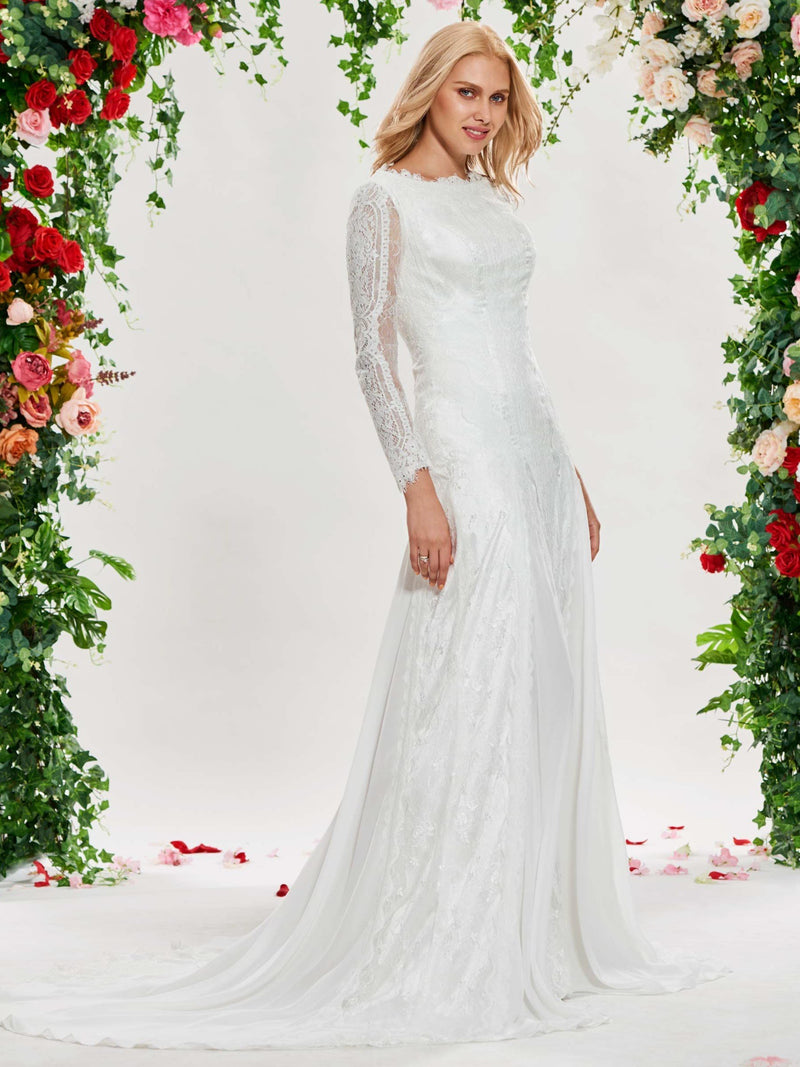 Long Sleeves Floor-Length Sheath/Column Court Garden/Outdoor Wedding Dress