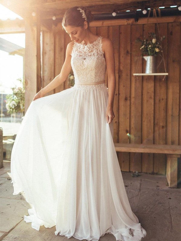 Scoop Sleeveless Sweep/Brush Floor-Length Beach Wedding Dress