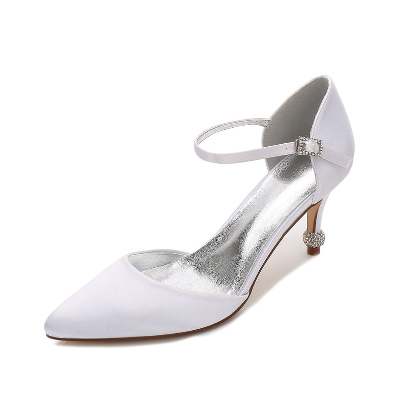 Stiletto Heel Pointed Toe Line-Style Buckle 7.5cm Low-Cut Upper Thin Shoes