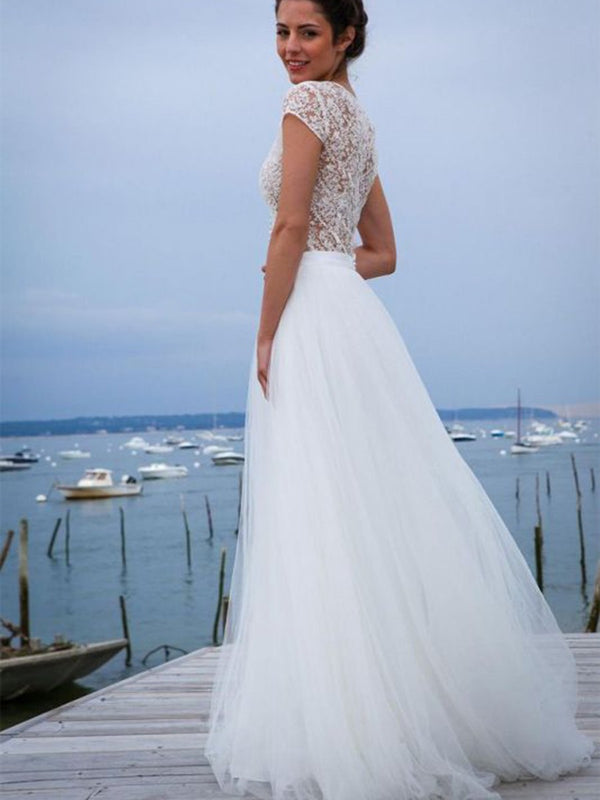 A-Line Cap Sleeves V-Neck Floor-Length Hall Wedding Dress