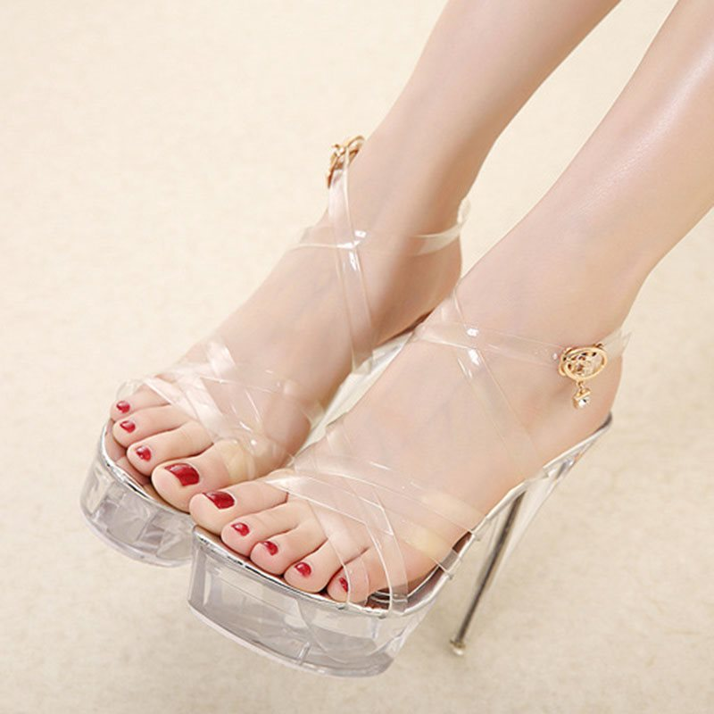 Strappy Buckle Stiletto Heel Open Toe Casual See-Through Sandals