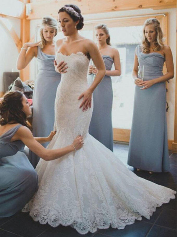 Trumpet/Mermaid Lace Floor-Length Sweep/Brush Hall Wedding Dress