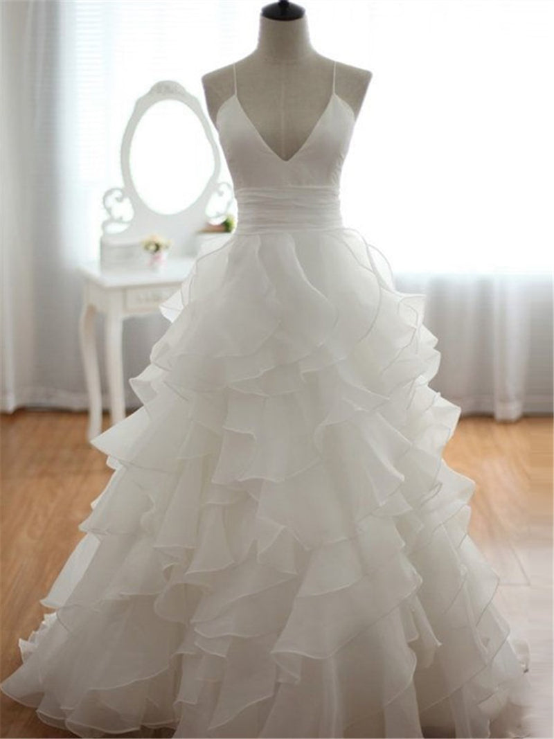 Cascading Ruffles Court Floor-Length Sleeveless Church Wedding Dress