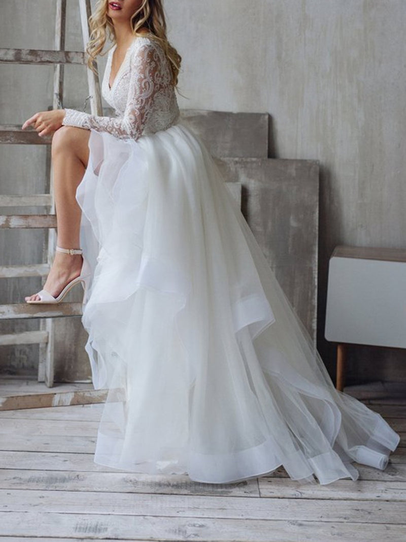 Sweep/Brush Floor-Length A-Line V-Neck Garden/Outdoor Wedding Dress