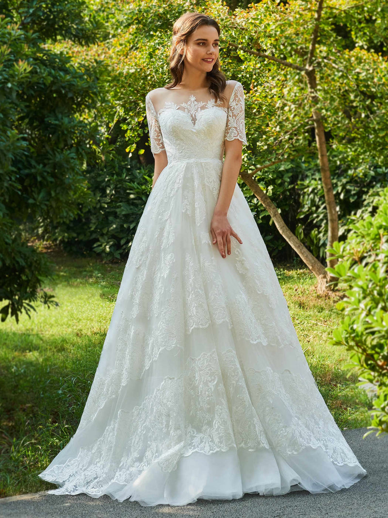 Ball Gown Short Sleeves Button Floor-Length Hall Wedding Dress