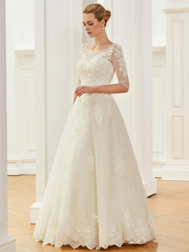 Floor-Length Scoop Half Sleeves Ball Gown Church Wedding Dress