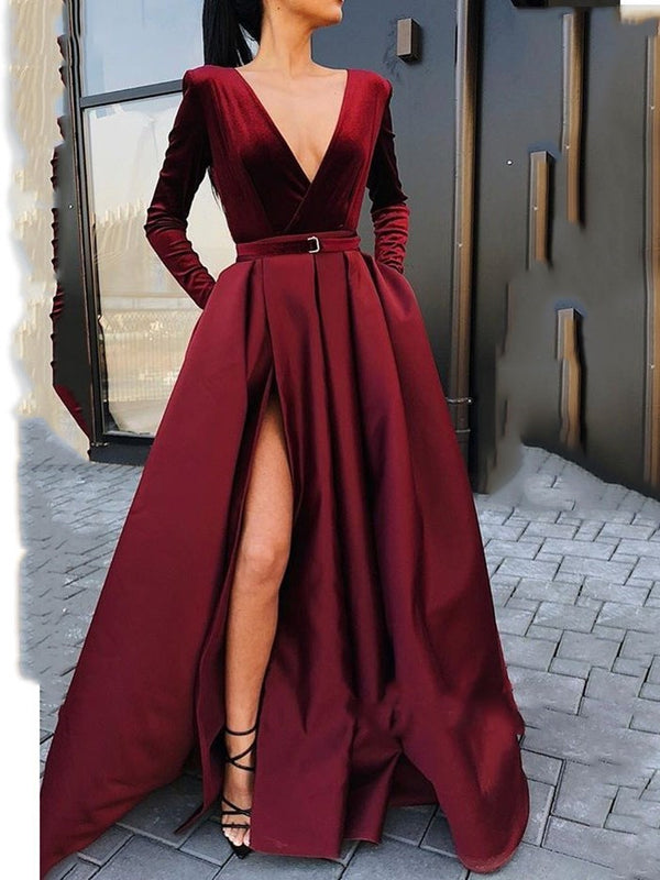 Long Sleeves Split-Front Floor-Length A-Line Evening Dress