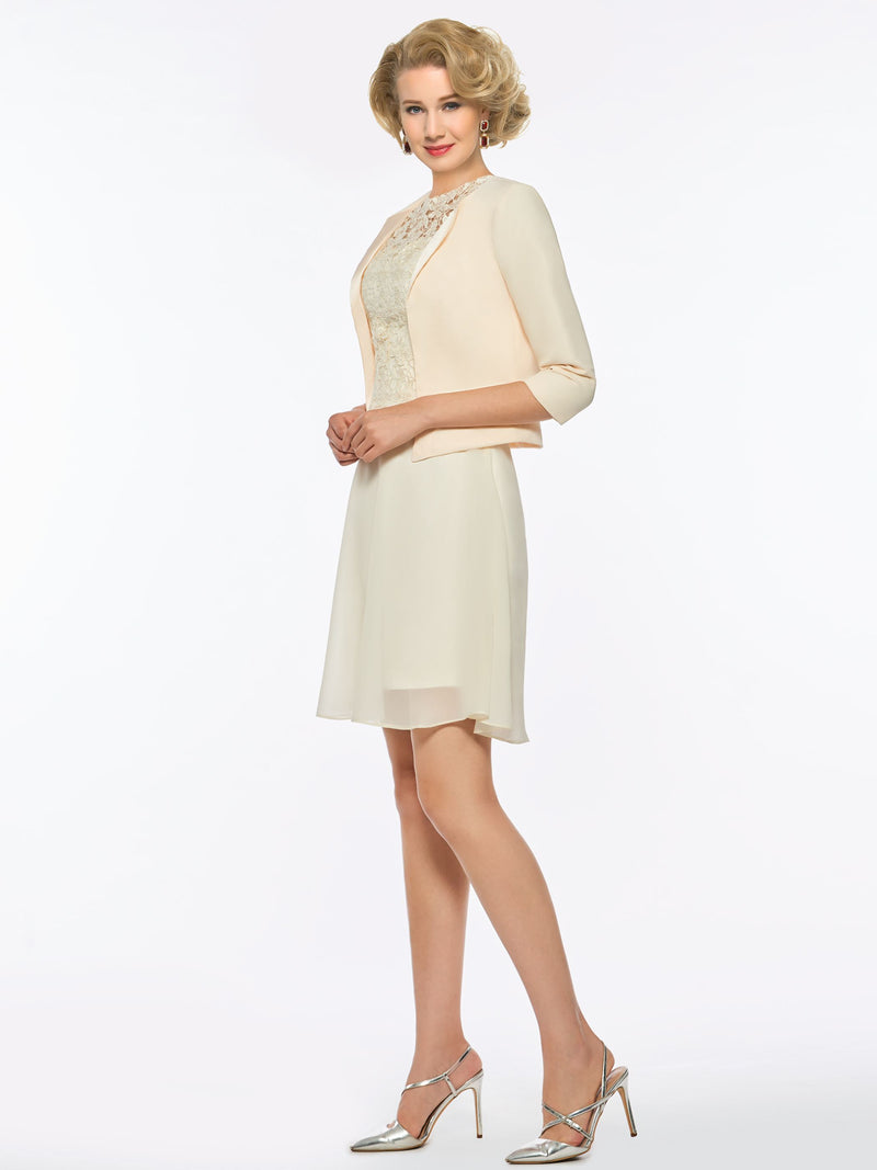 Lace A-Line Knee-Length Half Sleeves Formal Dress