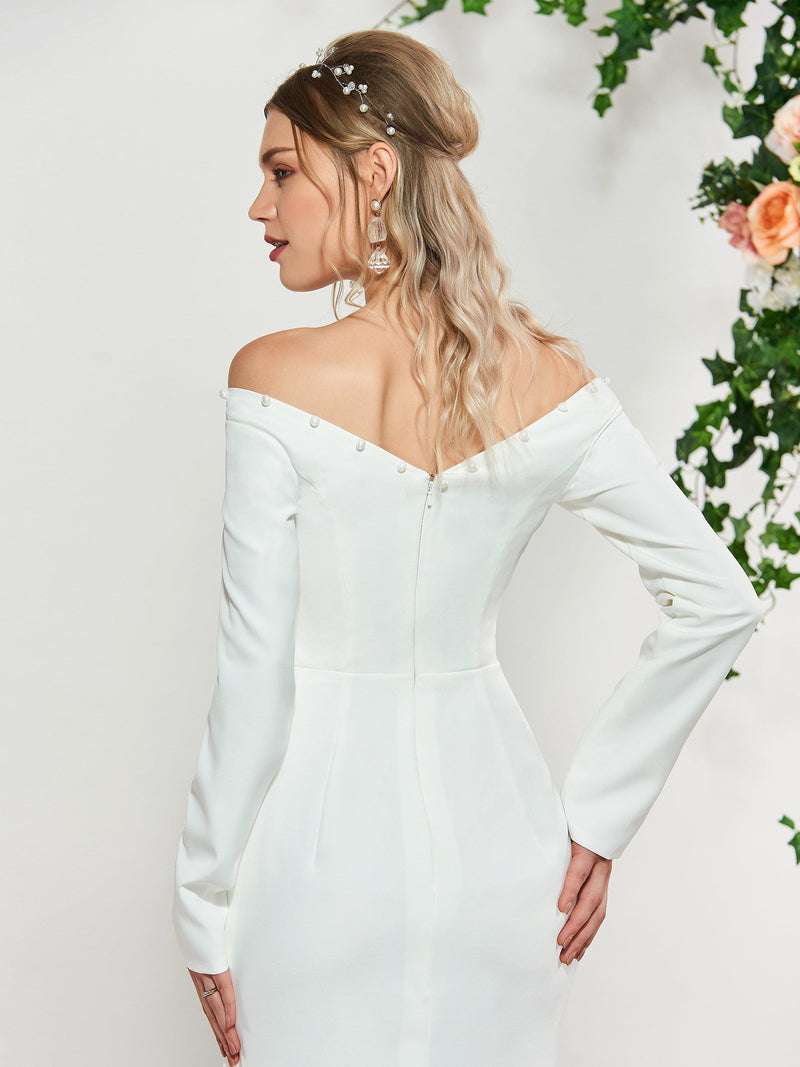 Split-Front Long Sleeves Floor-Length Trumpet/Mermaid Beach Wedding Dress
