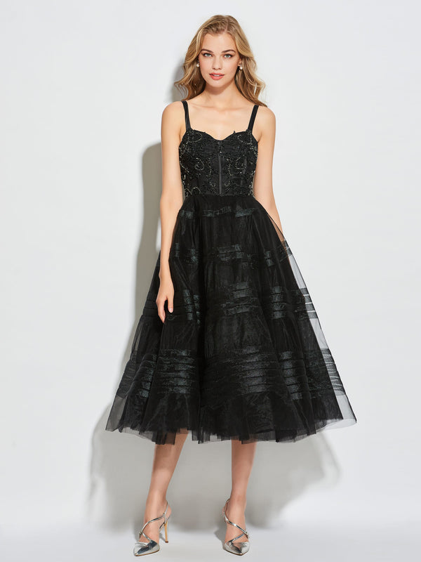 Beading Spaghetti Straps Ball Gown Tea-Length Cocktail Dress