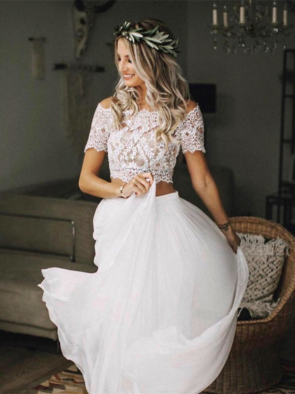 Short Sleeves A-Line Button Off-The-Shoulder Hall Wedding Dress