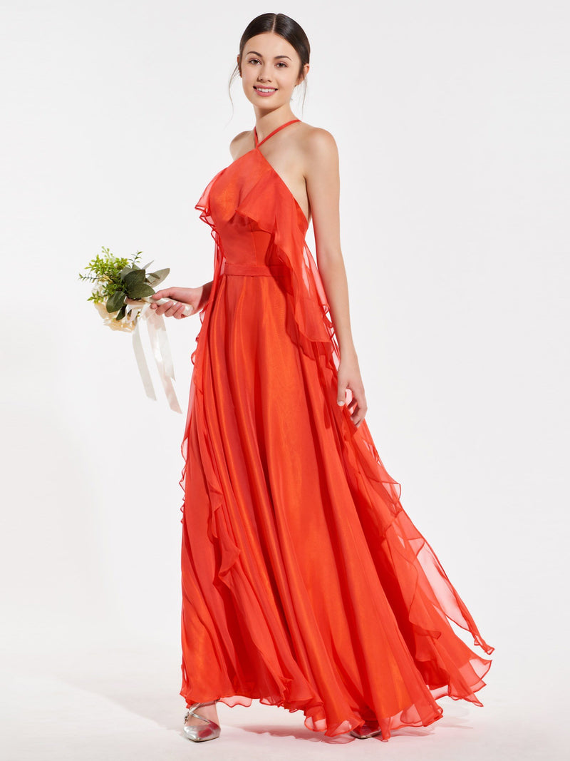 Halter Floor-Length Sleeveless Sashes/Ribbons Prom Dress