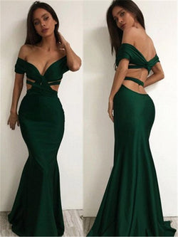 Off-The-Shoulder Hollow Short Sleeves Floor-Length Evening Dress
