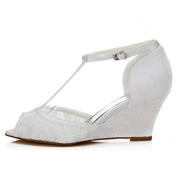 T-Shaped Buckle Peep Toe Lace Wedge Heel 7.5cm Low-Cut Upper Thin Shoes