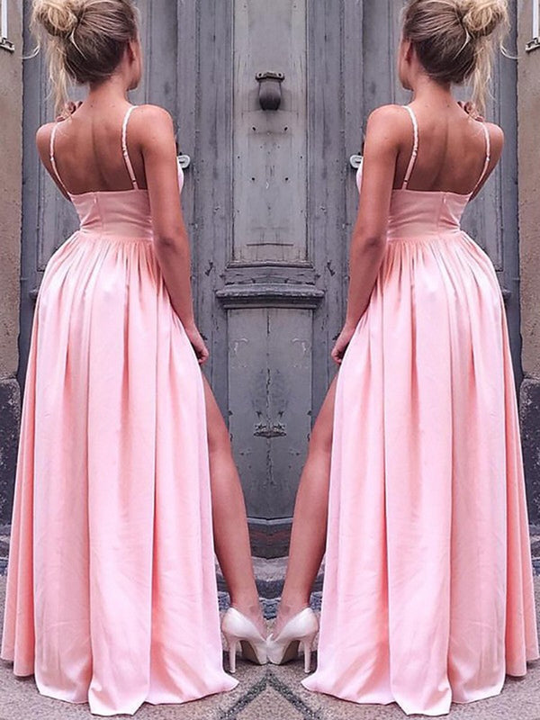 Spaghetti Straps Sleeveless Sweep/Brush Pleats Evening Dress