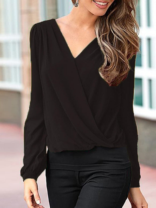 Hollow V-Neck Regular Standard Long Sleeve Blouse
