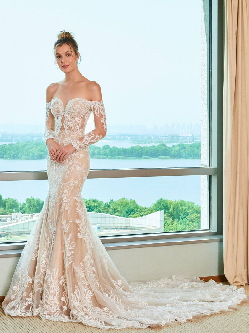 Trumpet/Mermaid Floor-Length Off-The-Shoulder Chapel Church Wedding Dress