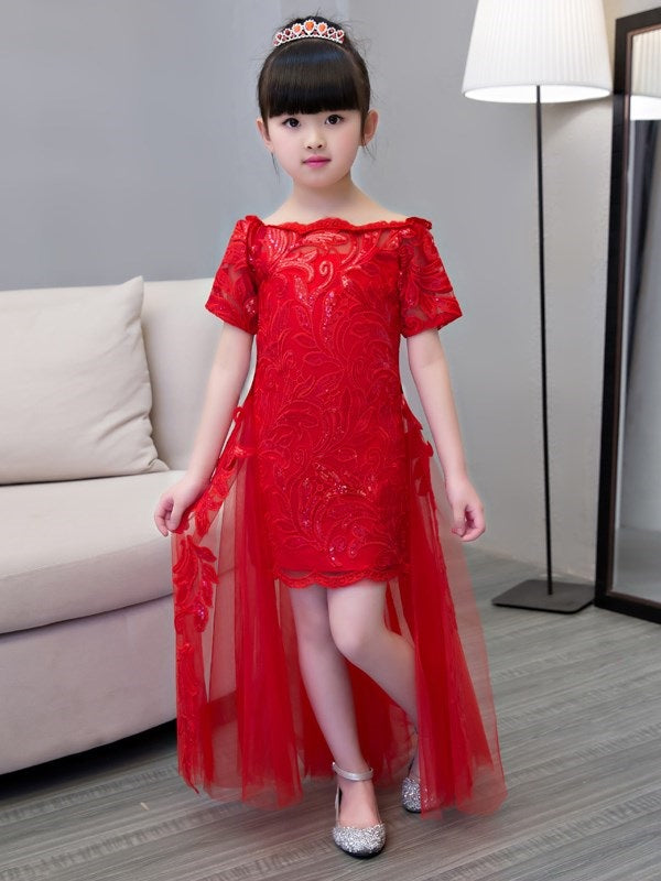 Half Sleeves A-Line Asymmetry Appliques Flower Girl Dress