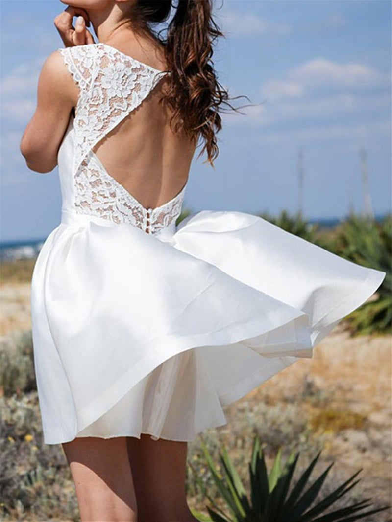 Scoop Short/Mini A-Line Sleeveless Beach Wedding Dress