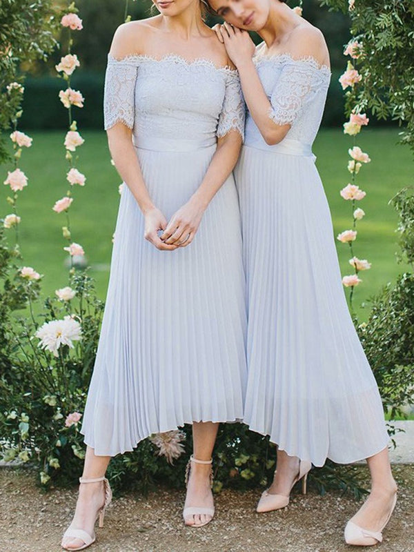Short Sleeves A-Line Lace Tea-Length Wedding Party Dress
